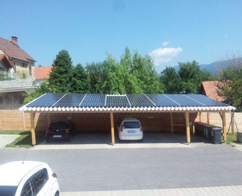 Carport mit Aufdach PV Anlage